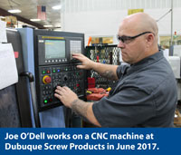 Photo of Joe O'Dell at Dubuque Screw Products.